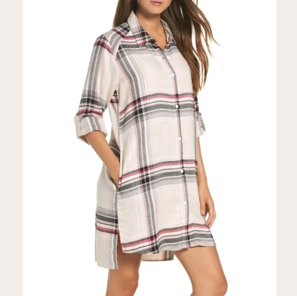 cae302d2fd4 Dkny Dresses   Skirts - DKNY Plaid Flannel Shirt Dress Tunic Oversized